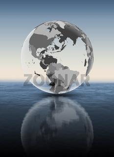 Puerto Rico on translucent globe above water