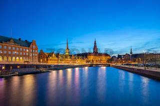 Night view on Christiansborg Palace in Copenhagen, Denmark