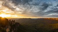 Three Sisters Blue Mountains Australia at sunrise
