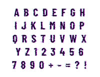Glitch computer distortion font, latin letters on white