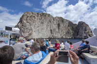 Passengers sightseeing tour boat coast Mallorca