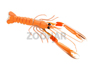 Fresh langoustine icon for menu design isolated on white background, healthy seafood, vector illustration.