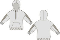 Hoody fashion technical drawings. Flat Templates on white background.