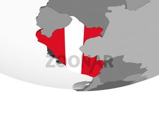Peru with flag on globe