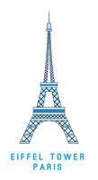 Line art, Eiffel tower, Paris symbol, European showplace
