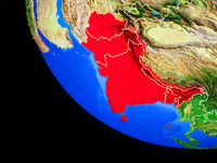 SAARC memeber states on Earth from space