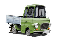Cartoon retro delivery or cargo truck isolated