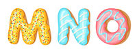 Donut icing upper latters - M, N, O. Font of donuts. Bakery sweet alphabet. Donut alphabet latters A b C isolated on white background