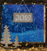 Window, Winter Forest, Text 2019, Christmas Tree And Lights
