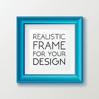 Realistic square blue frame template, frame on the wall mockup with decorative borders