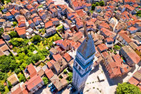 Town of Vodnjan tower and rooftops aerial view