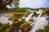 Powerful jets of the world famous waterfalls Iguazu
