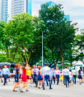Cityscape, crowd, business people, Singapore