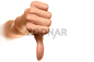 female hand showing thumbs down sign