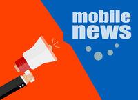 flat design business concept. mobile news. Digital marketing business man holding megaphone for website and promotion banners.