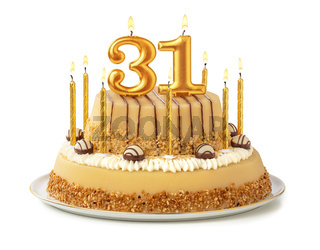 Festive cake with golden candles - Number 31