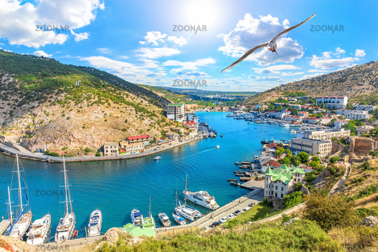 Beautuful Balaklava Bay view in Sevastopol, Crimea