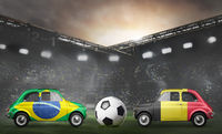 Brazil and Belgium cars on football stadium