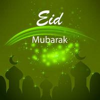 Happy Eid Mubarak Islamic Design on Green Starry Background