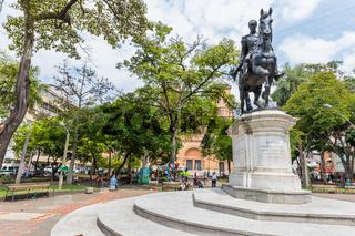Bolivar square Medellin equestrian statue Colombia