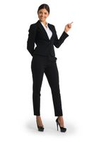 Businesswoman pointing with finger