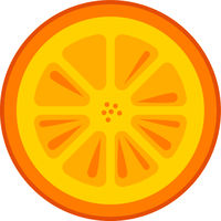 Orange Fruit Slice Vector Isolated