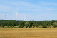wind turbines / windmills in rural landscape - renewable energy -