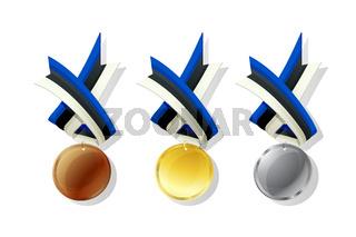 Estonian vector medals set