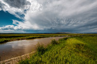 Stormy clouds above river in Wyoming