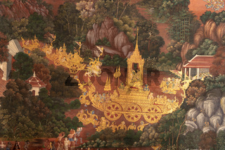 Golden procession in Wat Phra Kaew mural