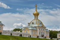 View of famous landmark of Peterhof Palace, close to city of St. Petersburg in Russia during sunny summer day
