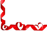 Red heart ribbon bow