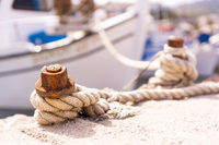 Rope knot holding empty fisherman boat