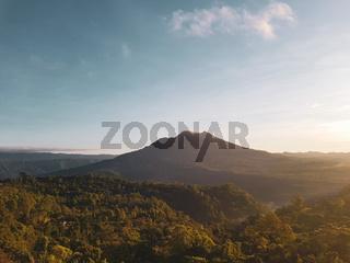 Batur volcano during beautiful sunrise in Bali