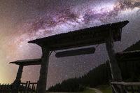 Purple Milky way falling stars wooden door
