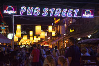 Busy night on the popular tourist Pub Street, Siem Reap, Cambodia.