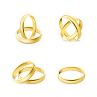 Set of gold engagement rings isolated on white background, vector