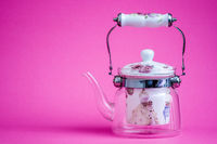 Heat Resistant Glass Teapot with Tea Strainer on Pink