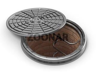 Manhole cover lid. 3D