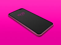 All-screen black smartphone mockup isolated on pink. 3D render