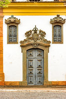 Old and historic church facade in the city of Sabara, Minas Gerais