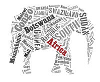 African words cloud in elephant shape.