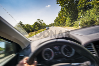 View from a fast moving car
