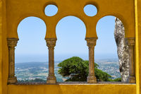The arabian style arches on the terrace of the Pena Palace. Sintra. Portugal