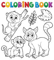 Coloring book primates and monkey