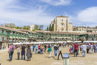 Chinchon. Madrid, April 14, 2017. Spain. Medieval market, Plaza de Chinchon where the market developed