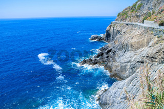 View over the sea and the mountains of Cinque Terre