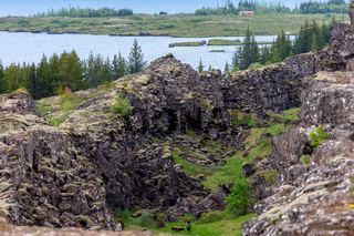 Thingvellir National Park Iceland. Thingvellir National Park separates Europe and America.