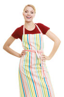 Smiling housewife in kitchen apron