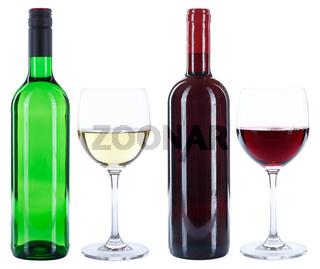 Wein Weinflaschen Weinglas Flaschen Glas Rotwein Weißwein Weisswein freigestellt Freisteller